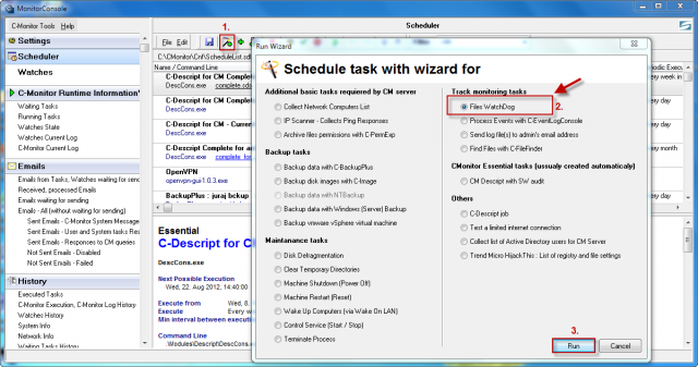 Launch of wizard for setup of monitoring of file changes