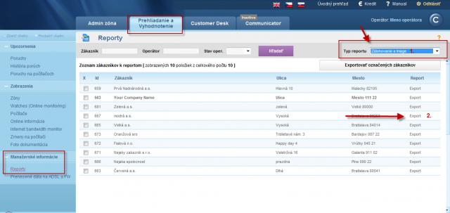 Vstup do reportov a export pre vybraného zákazníka