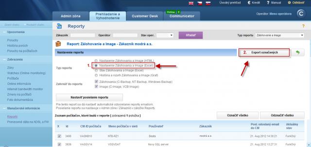 Report nastavenia zálohovania a image - Excel