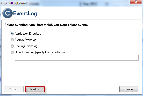 Selection of Eventlog type