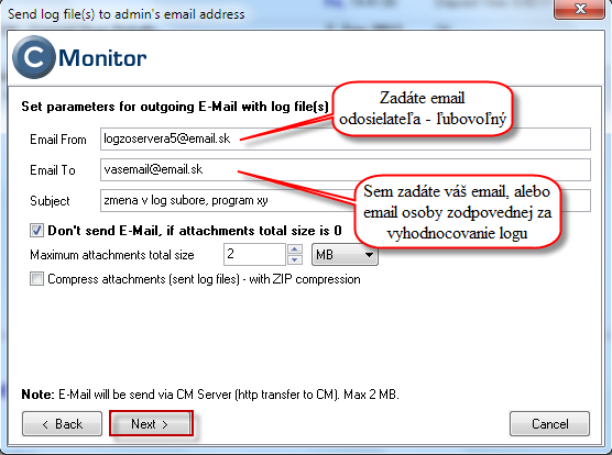 Setting receiver email