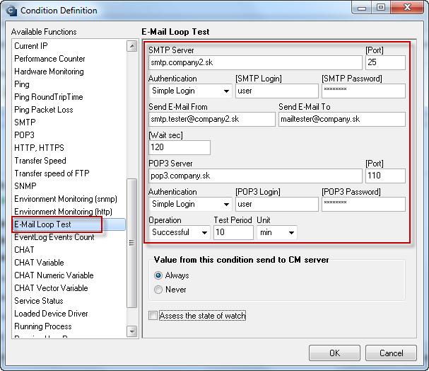 Obrázok: POP3 E-Mail looping test