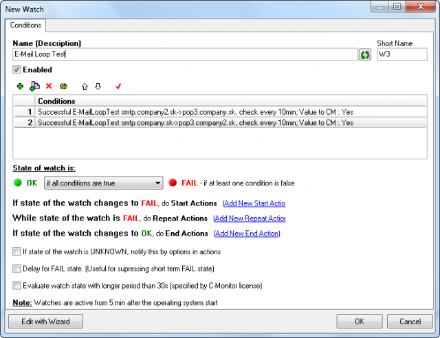 Image: CM-Watch for two-way monitoring E-Mail looping test