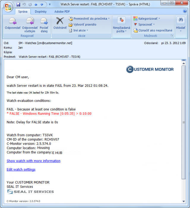 Notification e-mail