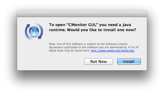 After detecting missing Java, you'll see this prompt for its installation