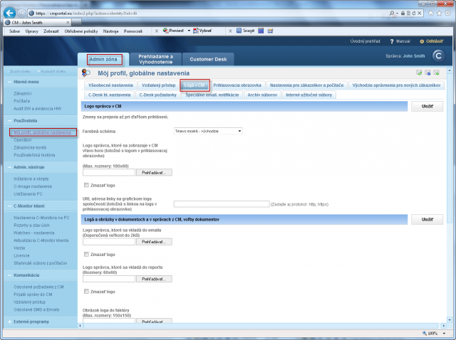 Setup of company logo in the CM environment. The setting is valid for both access addresses (default and custom domain)