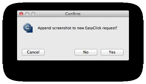 Otázka, či sa má k EasyClick požiadavke priložiť aj screenshot obrazovky