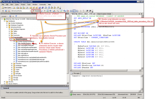 The process how to import the testing SQL procedure