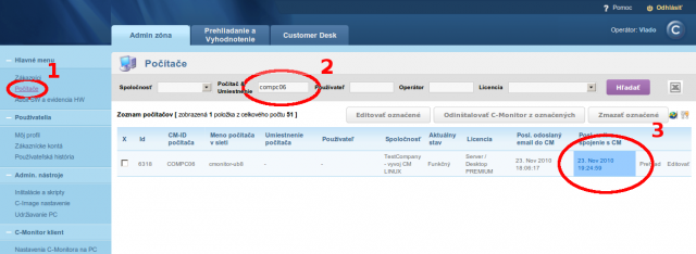 View of online connection on CM portal
