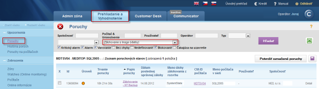 Example of recorded antivirus errors on CM portal