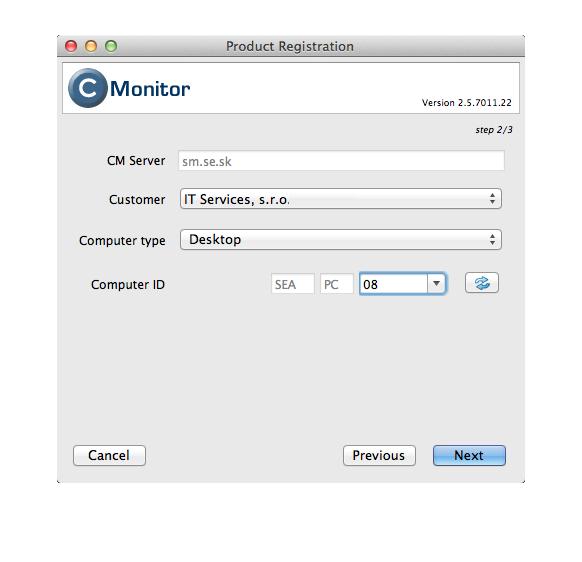 C-Monitor registration under a concrete customer