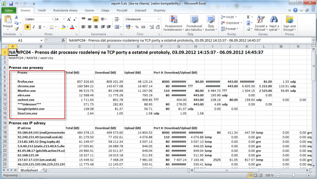 Export of transferred data according to applications into excel