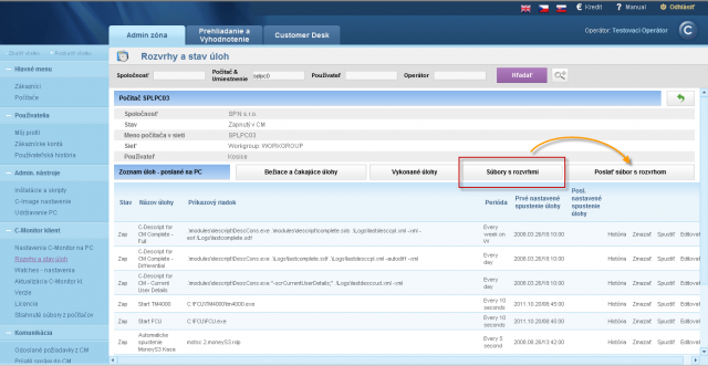 Switch into view with physical files (ScheduleList.sdl) in the schedule for a concrete PC on CM Portal