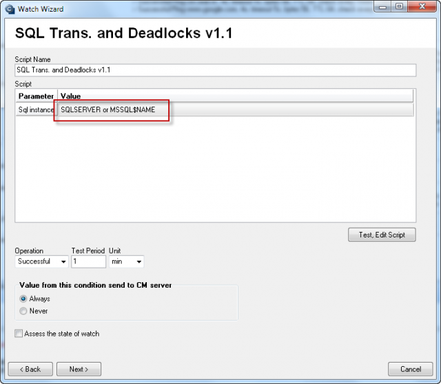 Field to enter name of the SQL server or instance in the wizard  (to reopen this dialog, double click on the first condition in CHAT)