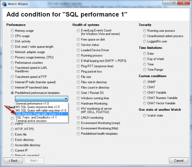 Selection of template for monitoring of RAM, number of Page split operations /sec, number of active SQL connections.