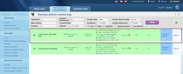 View of the measured data on CM portal