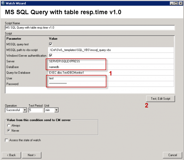 Enter the SQL server (name selection is described in the above case), name of database, access data.