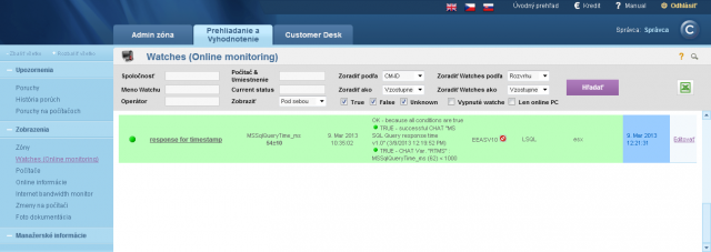 View of the measured value on CM portal
