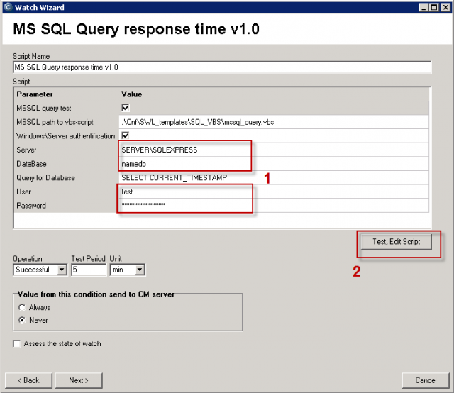 Fields to enter name of the SQL server, name of database, access data.  Continue by testing the script and the entered data
