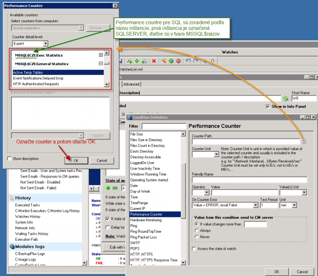 Selection of the performance counter in system dialog