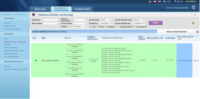 Illustration of the view of service status on CM Portal