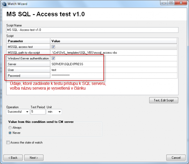 Parameters for configuration of the access test to SQL server