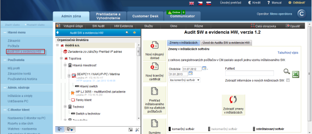 View of a concrete customer's detail in Audit SW and HW inventory