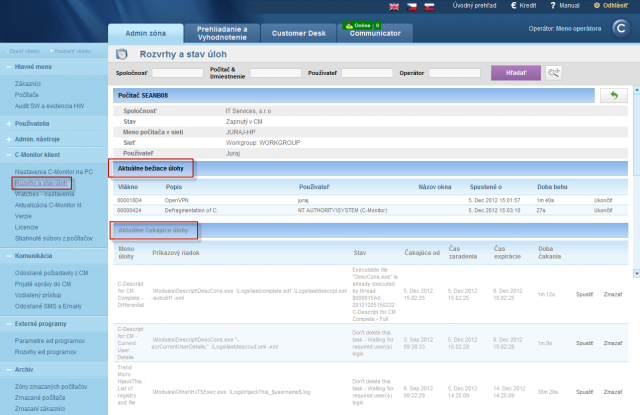 View of waiting and running tasks on CM portal