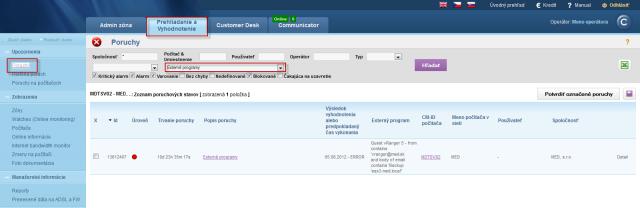 View of errors on CM portal
