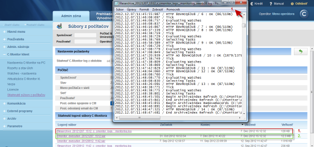 View of the C-Monitor Log