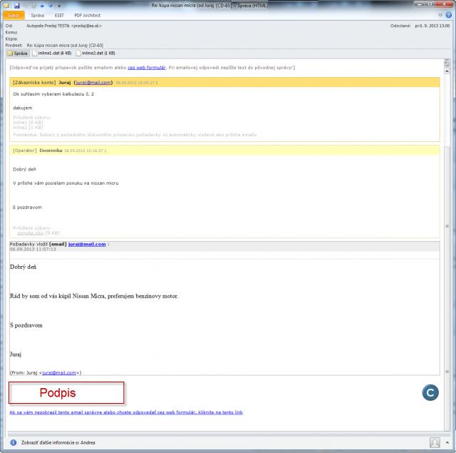 Zjednodušený email z diskusie