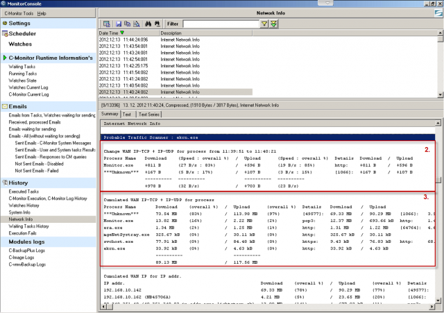 Sent and received data for TCP and UDP packets