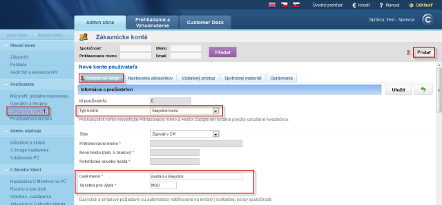 Creation of a new Easyclick account