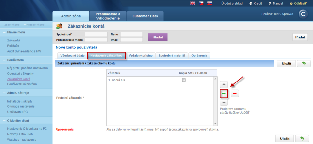 Assignment of customer to an Easyclick account