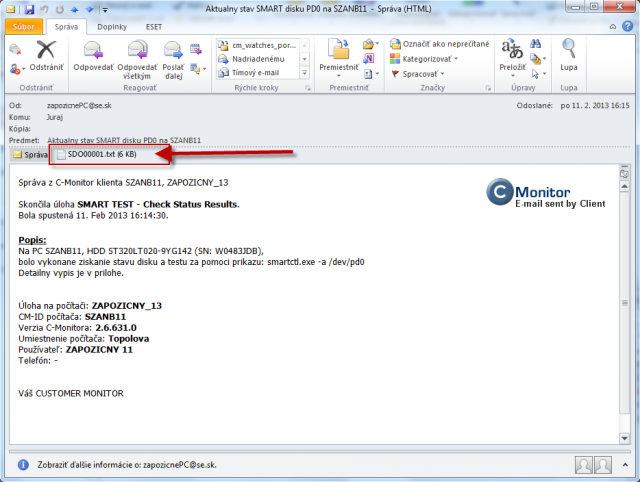 Email with attachment showing the ongoing and final status of the remote test of disk