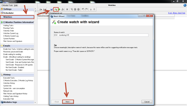 Creation of watch for monitoring of an ESX server