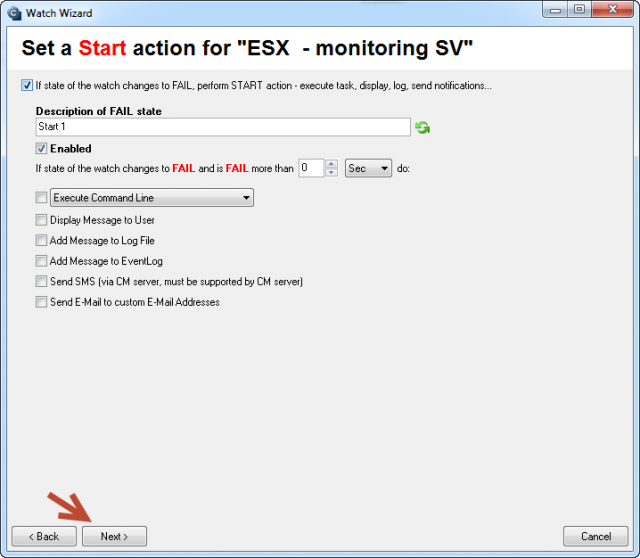 Setup of actions in case the Watch is switched to Fail state
