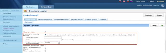 Nastavenie konta operátora pre synchronizáciu s Exchange serverom