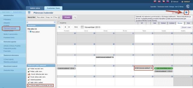 Zobrazenie udalostí z Exchange servera v CDESK kalendári