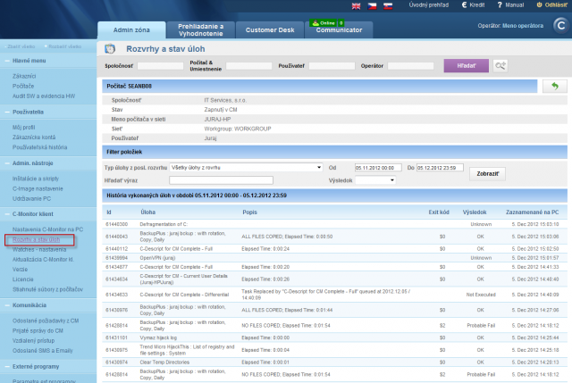 View of a list of executed tasks on CM portal