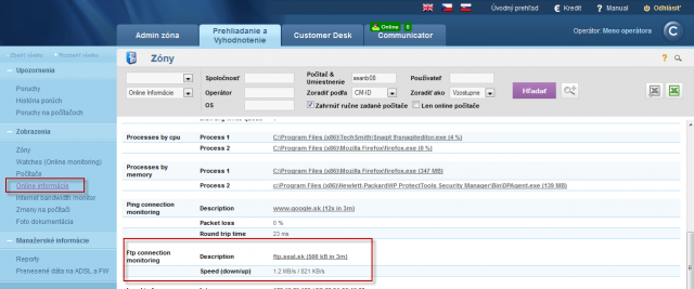 View of the current Ftp transfer speed at Online information