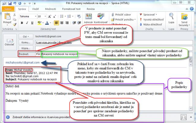 Príklad emailu od zákazníka, ktorý sa forwardne na CM server. Ak  sa vám v časti from zobrazí meno : musí sa napísať emailová adresa zákazníka na začiatok emailu