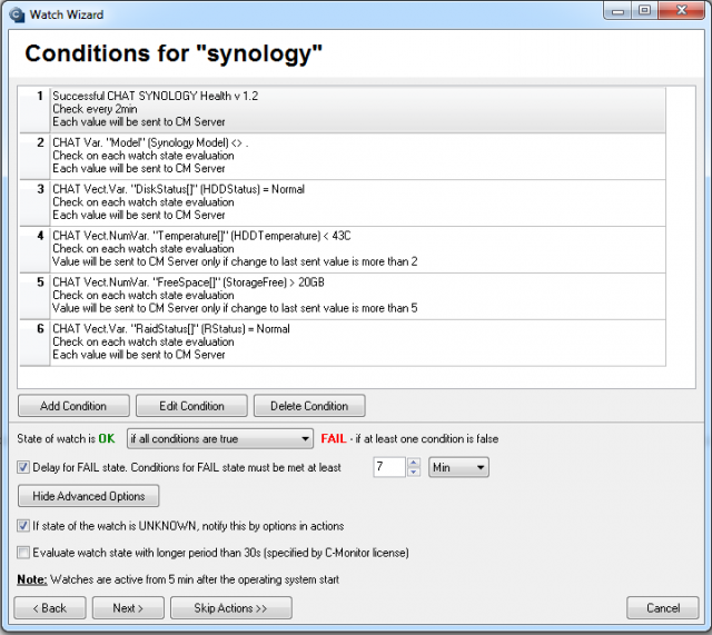 Monitored parameters for Synology