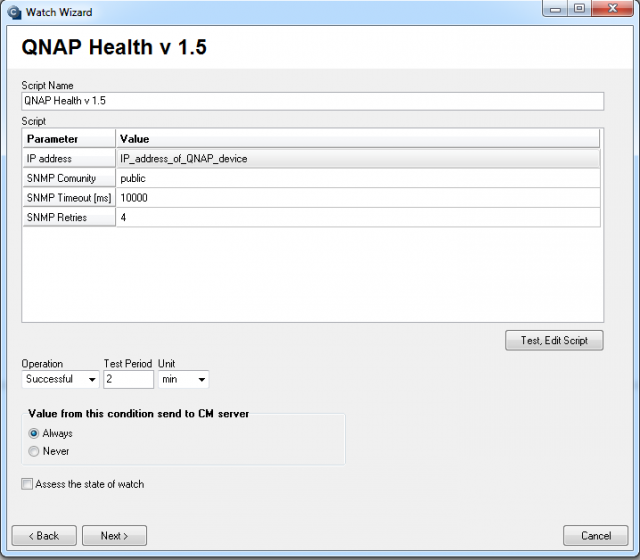 Setup of monitoring for QNAP