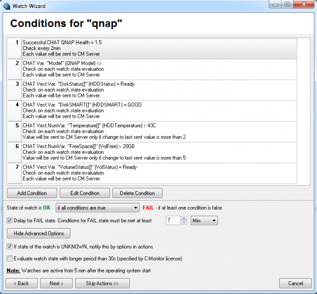 Monitored parameters for QNAP