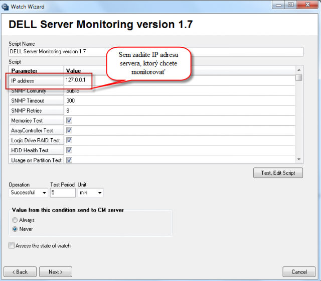 Entering IP address of the server, which you want to monitor