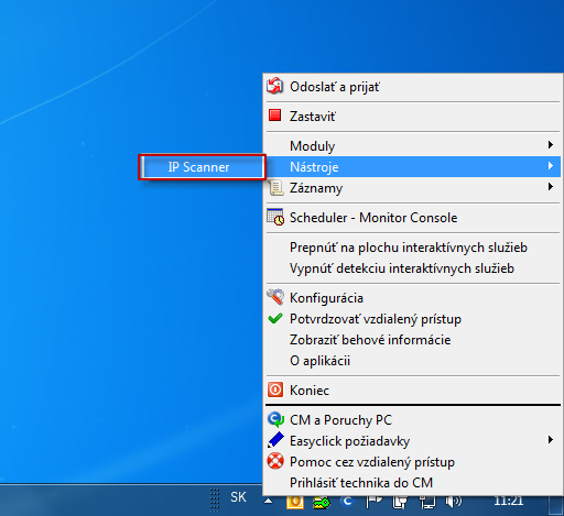 Entry to Utility IP scanner through C-Monitor icon