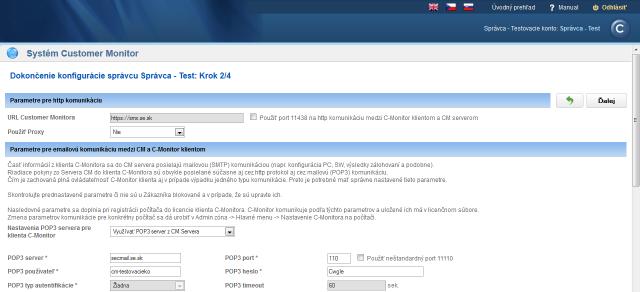 Step 2 - settings of Proxy, POP3, SMTP servers