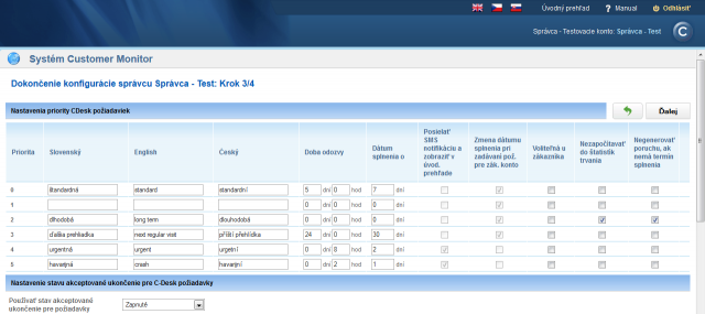 Step 3 - Settings of priorities of CDesk requests