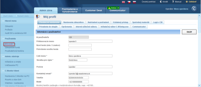 View of an operator account settings